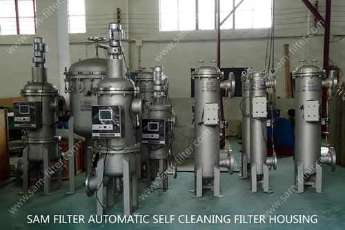 self cleaning filter housing